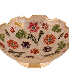 German Silver Bowl Hand Crafted with Fancy Painting Design 2