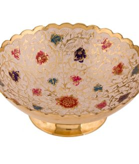 German Silver Bowl Hand Crafted with Fancy Painting Design - Flowers Crafting 2