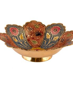 German Silver Bowl Hand Crafted with Fancy Painting Design - LOTUS Crafting 2