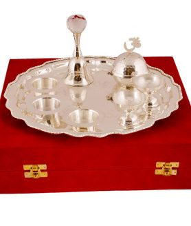 German Silver Chrome Plated Pooja Thali with Velvet Box Packing 2