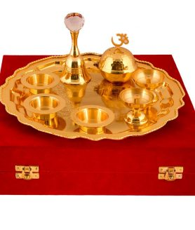 German Silver Gold Plated Pooja Thali with Velvet Box Packing 2