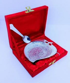 German silver mango shape bowl with spoon in velvet box