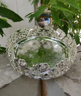 German silver plate with flower or peacock feathers border 3