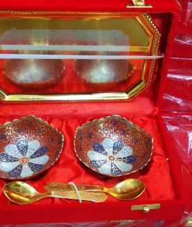 German silver two piece art work painted bowls with tray and spoons 4