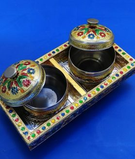 Golden Meenakari Bowls with Tray Return Gift 2