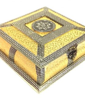 Antique Style Golden Meenakari Dry Fruit Box REXIN-5