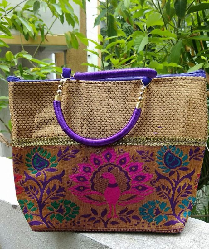 Banaras hand bag with beautiful designs