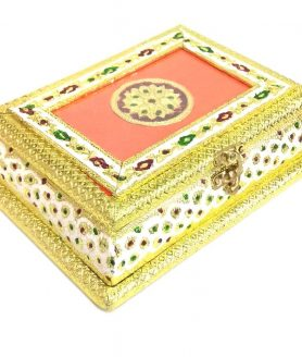 Golden Meenakari Dry Fruit Box with 4 Partitions MINA-23
