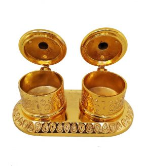 Double Kumkum Box Gold With Stand2