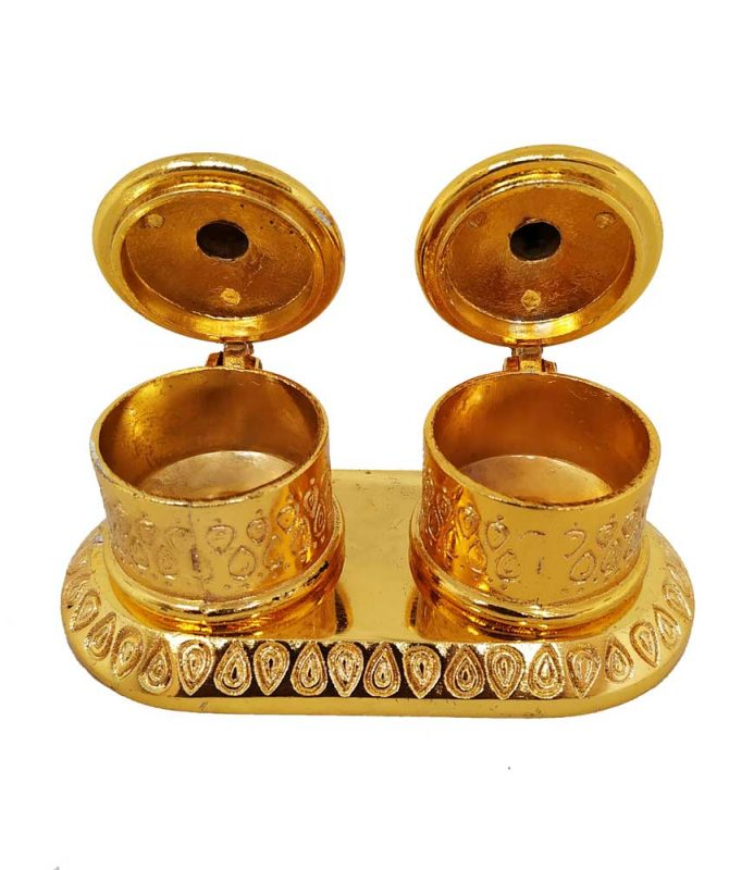 Double Kumkum Box Gold With Stand