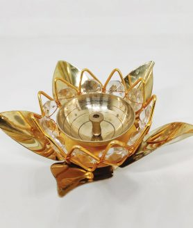 Five Petal Lotus Diya With Crystal Layer2
