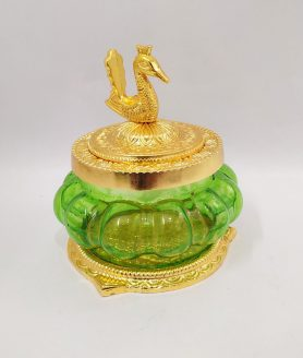 Lakshmi Charan Glass Bowl With Peacock Lid7